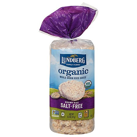 Lundberg Rice Cakes Organic Brown Rice Salt-Free - 8.5 Oz