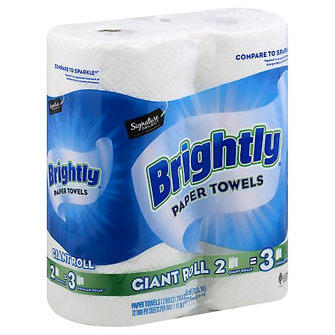 Signature SELECT Paper Towels Brightly Lint Free Shine Giant Roll 2 Ply Wrap - 2 Count
