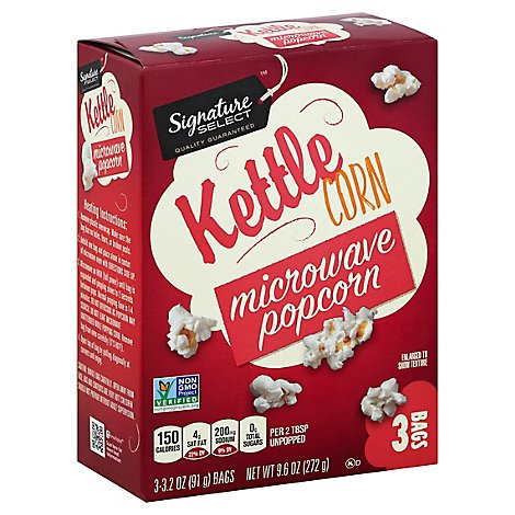 Signature SELECT Microwave Popcorn Ketlle Corn - 3-3.2 Oz