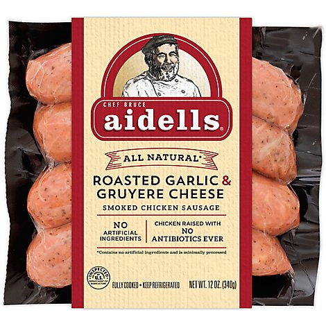 Aidells Smoked Chicken Sausage Links Roasted Garlic Gruyere Cheese 4 Count - 12 Oz