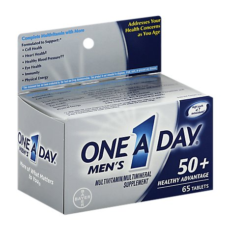 One A Day Mens Multivitamin/Multimineral Tablets 50+ Healthy Advantage - 65 Count