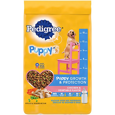Pedigree Dog Food Puppy Dry Growth & Protection Chicken & Vegetable Flavor - 16.3 Lb