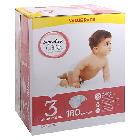 Signature Care Diapers Leakage Protection Size 3 16 To 28 Lb Value Pack - 180 Count