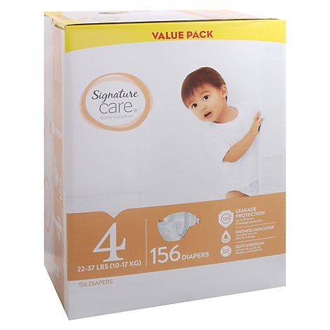 Signature Care Diapers Size 4 22 To 37 Lb Value Pack - 156 Count