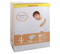 Signature Care Diapers Leakage Protection Size 4 22 To 37 Lb Value Pack - 156 Count
