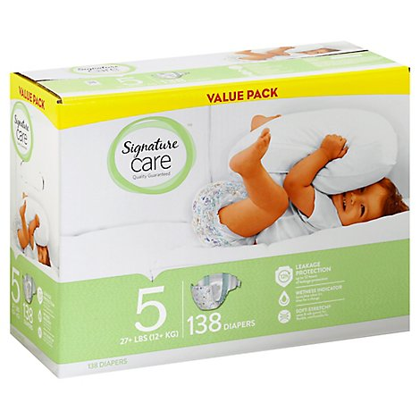 Signature Care Diapers Size 5 27 Lb Plus Value Pack - 138 Count