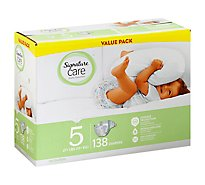 Signature Care Diapers Leakage Protection Size 5 27 Lb Plus Value Pack - 138 Count
