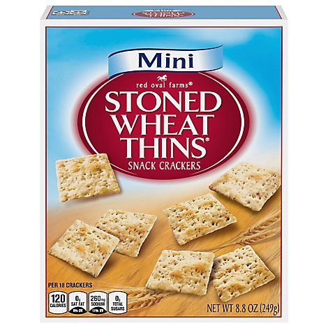 Red Oval Farms Stoned Wheat Thins Crackers Wheat Mini - 8.8 Oz