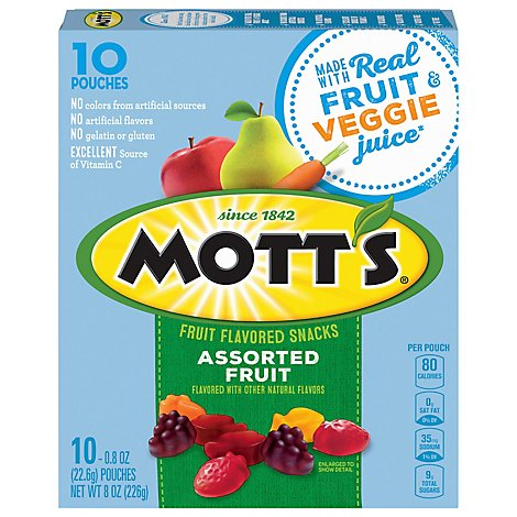 Motts Fruit Flavored Snacks Medleys Assorted Fruit - 10-0.8 Oz
