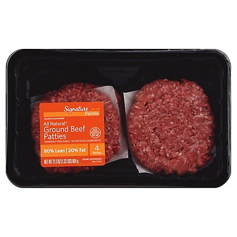 Signature Farms Beef Ground Beef Patties 80% Lean 20% Fat 4 Count - 1.33 Lb