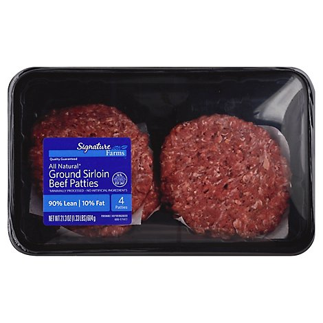 Signature Farms Ground Beef Hamburger Patties 90% Lean 10% Fat 4 Count - 1.33 Lb.