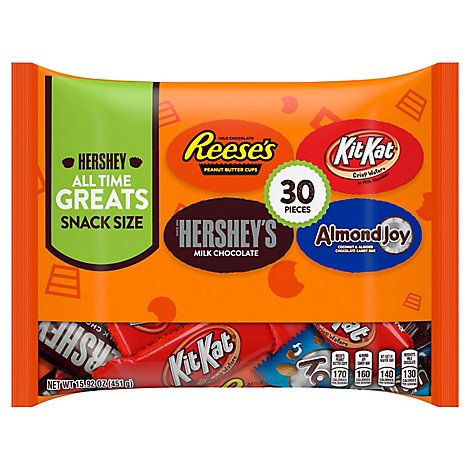 HERSHEYS All Time Greats Candies Assortment Snack Size Bag 30 Count - 15.92 Oz