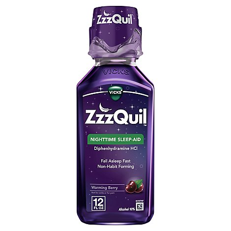 Vicks ZzzQuil Nighttime Sleep Aid Liquid Warming Berry - 12 Fl. Oz.