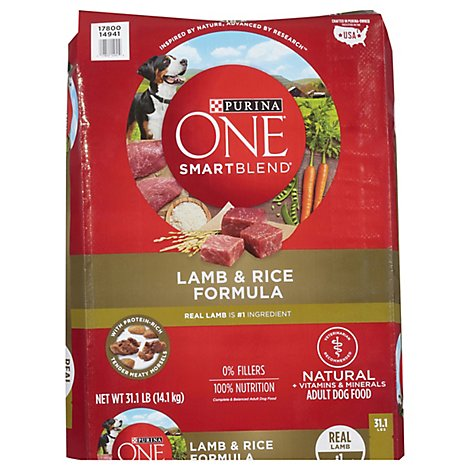 Purina ONE SMARTBLEND Dog Food Premium Adult Lamb & Rice Formula Bag - 31.1 Lb