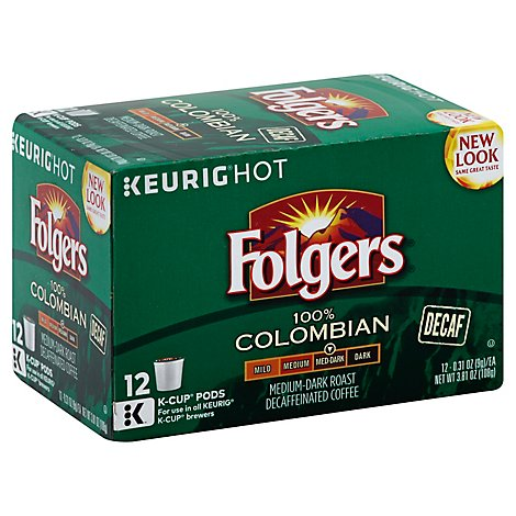 Folgers Gourmet Selections Coffee K-Cup Pods Medium Roast Colombian Coffee Decaf - 12-0.31 Oz