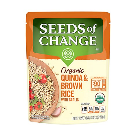 SEEDS OF CHANGE Organic Rice Brown & Quinoa With Garlic - 8.5 Oz