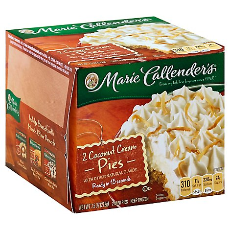 Marie Callenders Pie Coconut Cream Mini 2 Count - 7.5 Oz