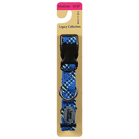 Legacy Collection Dog Collar Braided 14 to 20 Inch Medium Blue Card - Each