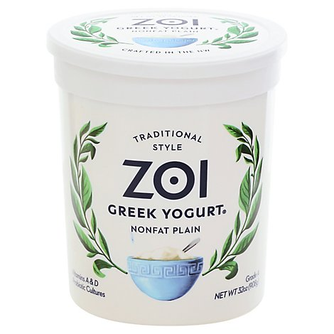 Zoi Greek Yogurt Plain Nonfat - 32 Oz