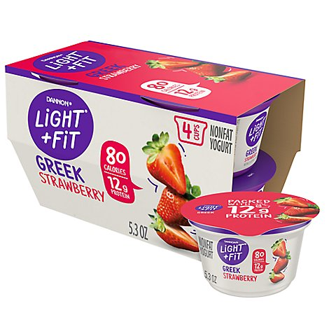 Dannon Light + Fit Yogurt Greek Nonfat Gluten Free Strawberry - 4-5.3 Oz