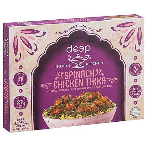 Deep Indian Kitchen Frozen Meal Chicken Tandoori With Spinach - 9 Oz
