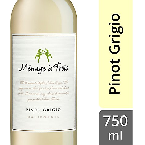 Menage a Trois Wine Pinot Grigio California - 750 Ml