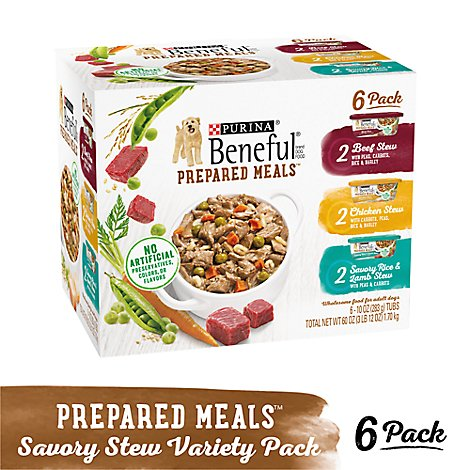 Beneful Prepared Meals Dog Food Variety Pack Box 6 Count - 60 Oz