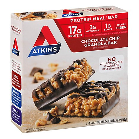 Atkins Meal Bar Chocolate Chip Granola - 5-1.69 Oz