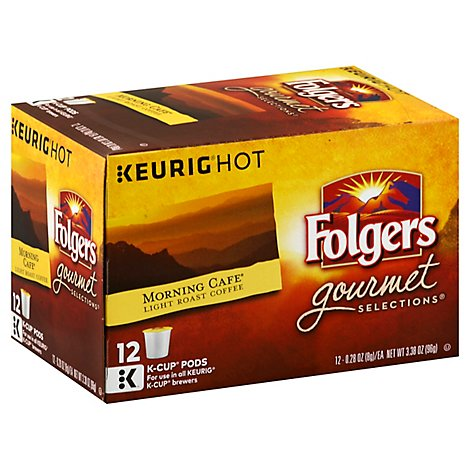 Folgers Gourmet Selections Coffee K-Cup Pods Light Roast Morning Cafe - 12-0.28 Oz