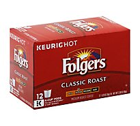 Folgers Gourmet Selections Coffee K-Cup Pods Medium Roast Classic Roast - 12-0.28 Oz