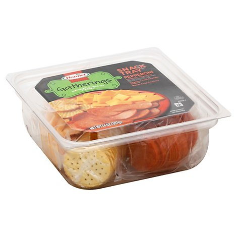Hormel Gatherings Deli Snack Tray Pepperoni Mild Cheddar Cheese Butter Crisp Cracker - 14 Oz