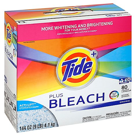 Tide Plus Bleach Laundry Detergent Powder Original - 144 Oz.
