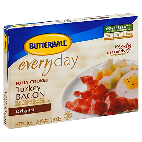 Butterball Turkey Bacon Fully Cooked - 3 Oz