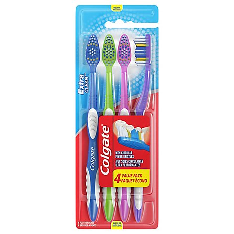 Colgate Toothbrush Extra Clean Full Head Med 441 Value Pack - 4 Count