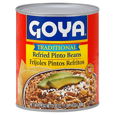 Goya Beans Refried Pinto Traditional - 30 Oz