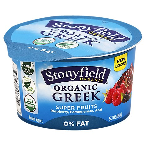 Stonyfield Farm Organic Greek Yogurt Super Fruit Nonfat - 5.3 Oz