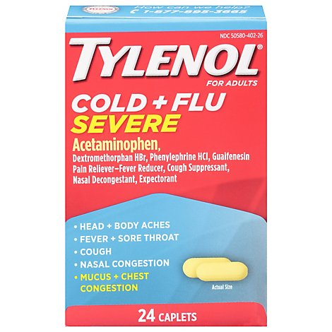 TYLENOL Pain Reliever/Fever Reducer Caplets Cold & Flu Severe For Adults - 24 Count
