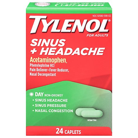 TYLENOL Pain Reliever/Fever Reducer Caplets Sinus Congestion & Pain For Adults Daytime - 24 Count