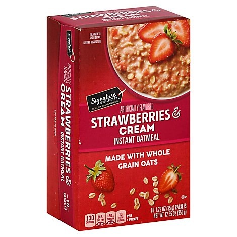 Signature Kitchens Oatmeal Instant Strawberries & Cream - 10-1.23 Oz