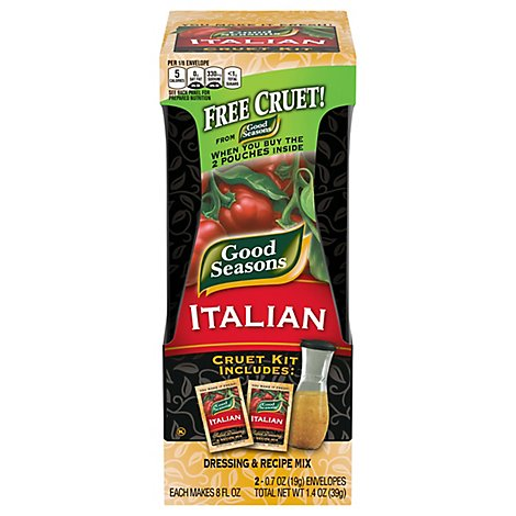 Good Seasons Salad Dressing & Recipe Mix Italian Cruet Kit - 2-0.7 Oz