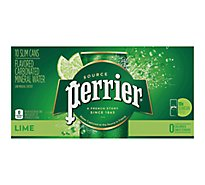 Perrier Lime Flavored Carbonated Mineral Water Slim Cans - 10-8.45 Fl. Oz.