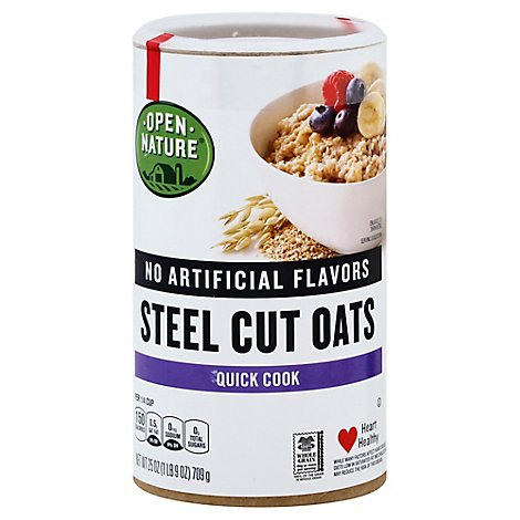 Open Nature Cereal Oats Quick Cook Steel Cuts Oats Jar - 25 Oz