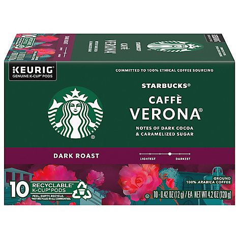 Starbucks Coffee K-Cup Pods Dark Roast Caffe Verona Box - 10-0.42 Oz