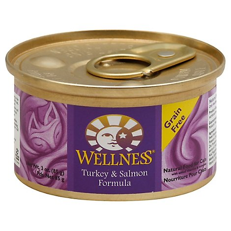 Wellness Complete Health Cat Food Grain Free Pate Turkey & Salmon Entree Can - 3 Oz