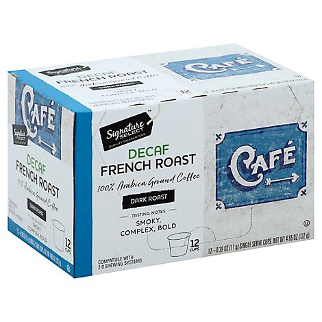 Signature SELECT Coffee Pods Single Serve Dark Roast French Roast Decaf - 12-0.39 Oz