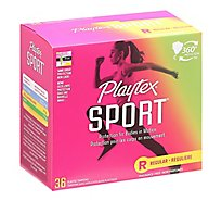 Playtex Sport Plastic Tampons Flexfit Unscented Regular Absorbency - 36 Count