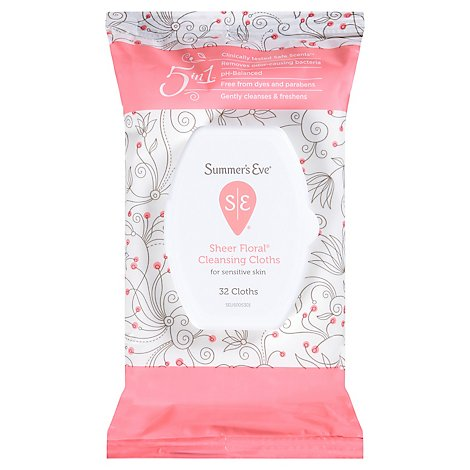 Summers Eve Cleansing Cloths Sheer Floral - 32 Count