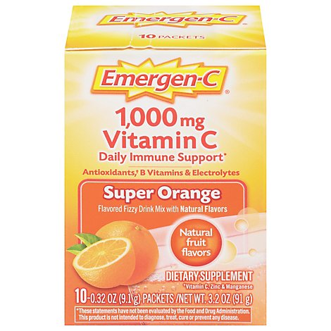Emergen-C Super Orange Dietary Supplement Fizzy Drink Mix with 1000mg Vitamin C - 10-.32 Oz.