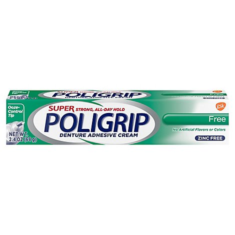 Poligrip Denture Adhesive Cream Super Strong Free - 2.4 Oz