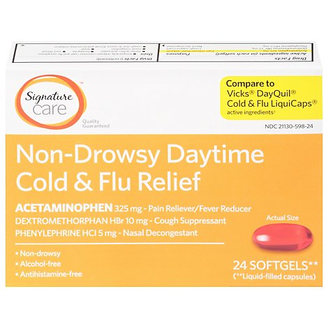 Signature Care Cold & Flu Relief Daytime Non Drowsy Acetaminophen 325mg Softgel - 24 Count